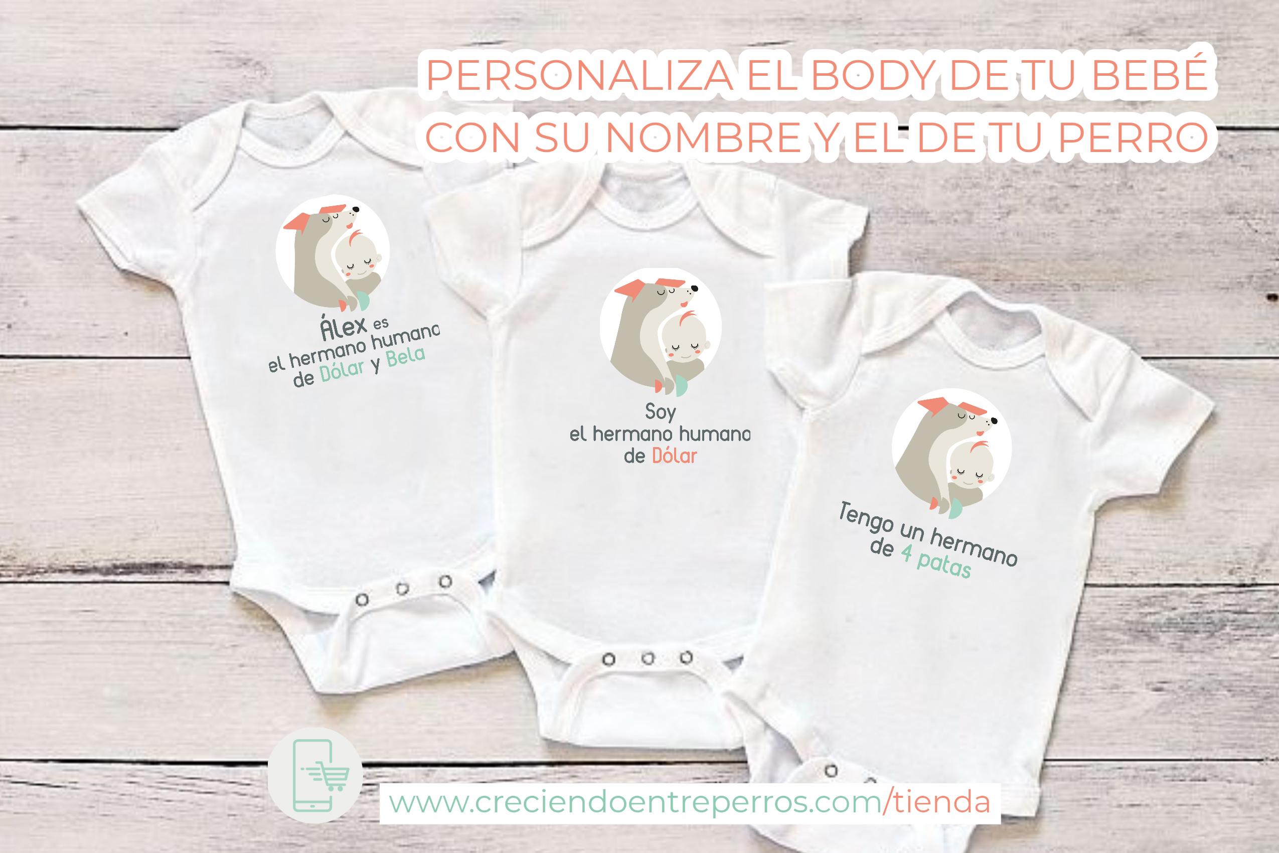 body personalizado nombre perro y bebé multiespecie