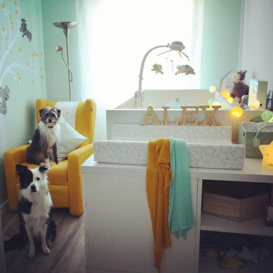 perros en habitación del bebé creciendo entre perros